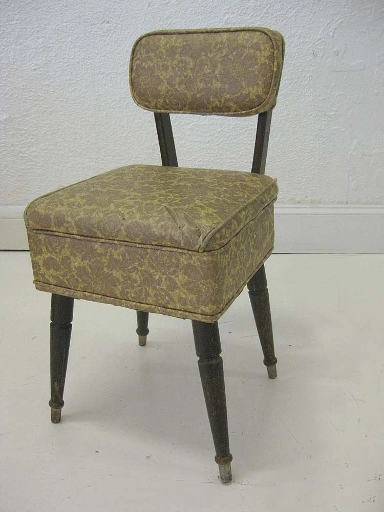 Vintage Sewing Chair with Notions Storage by