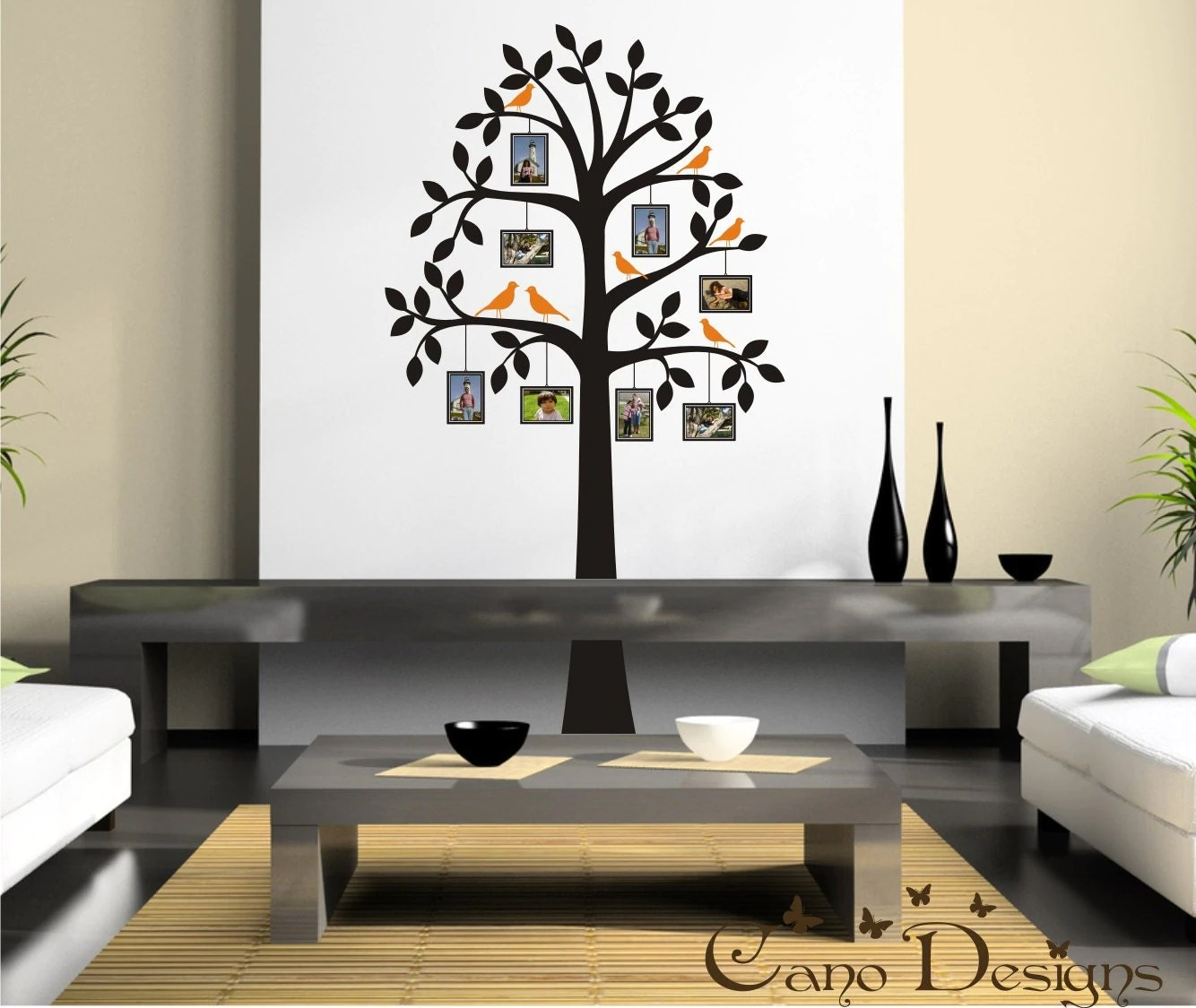 Tree With Photo Frames And Birds Vinyl Wall Decal Tree Frame