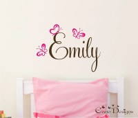 Personalized Name With Butterflies Custom Vinyl wall decals