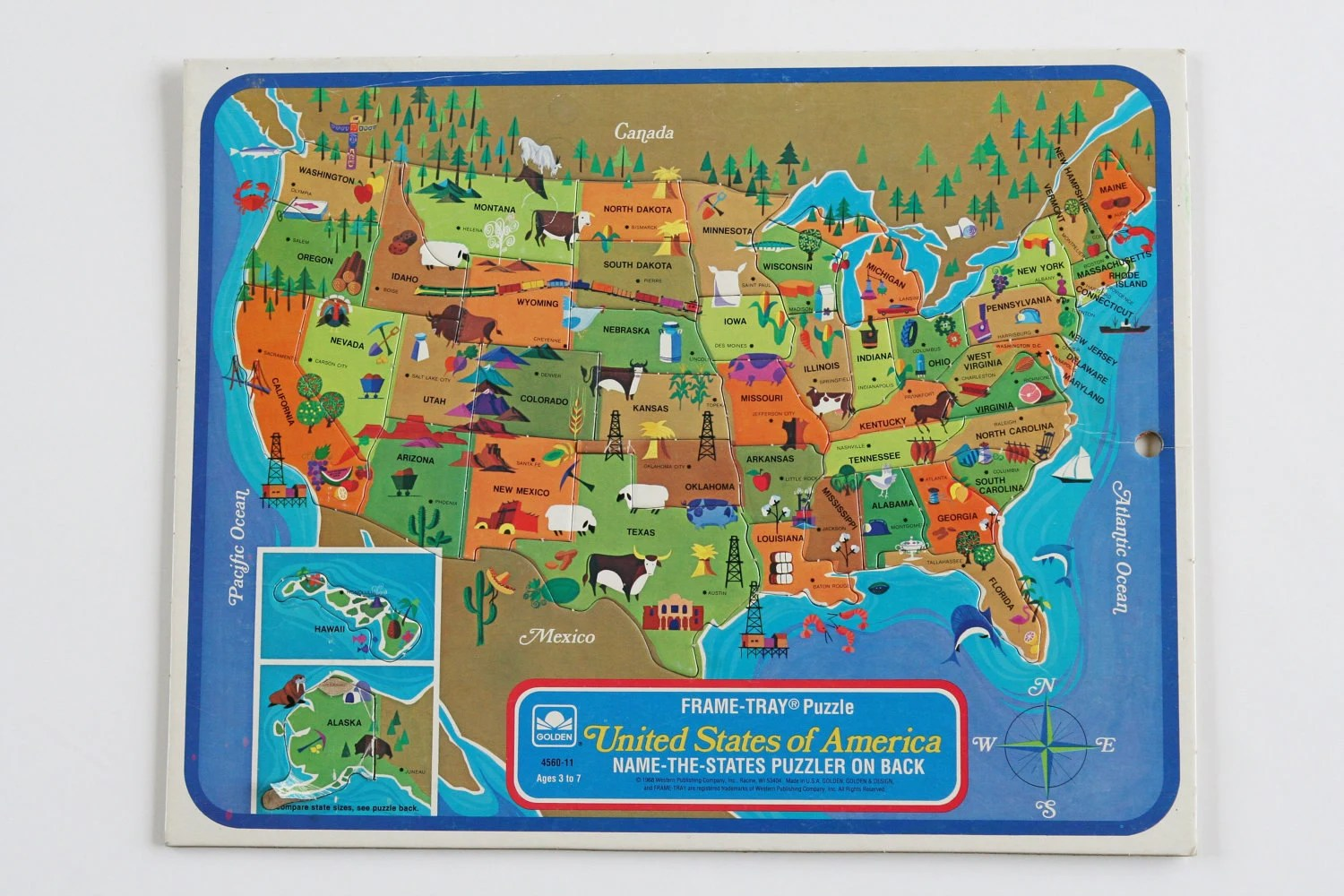 Reserved Vintage United States Puzzle Map By Bricabracvintage