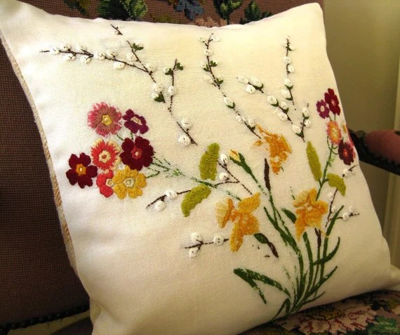 green chair covers folding karachi hand embroidered floral pillow cushion cover. burlap back.