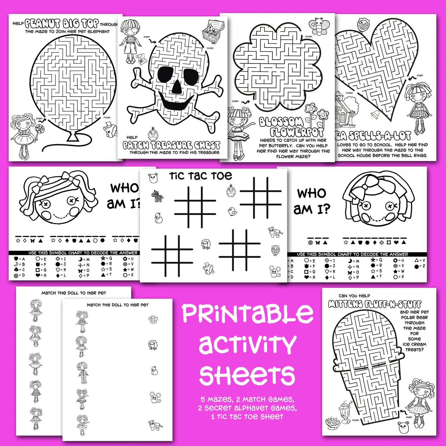 Printable Button Doll Activity Sheets By Onelovedesignsllc On Etsy