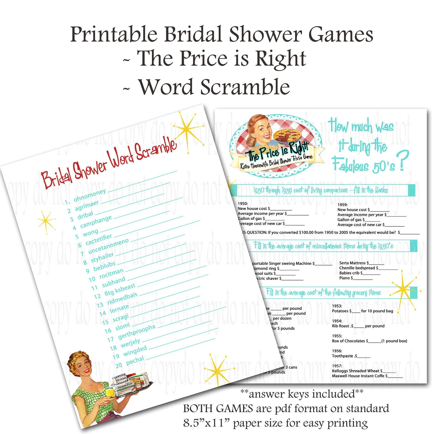 Printable Retro Housewife Themed Bridal Shower Games Word