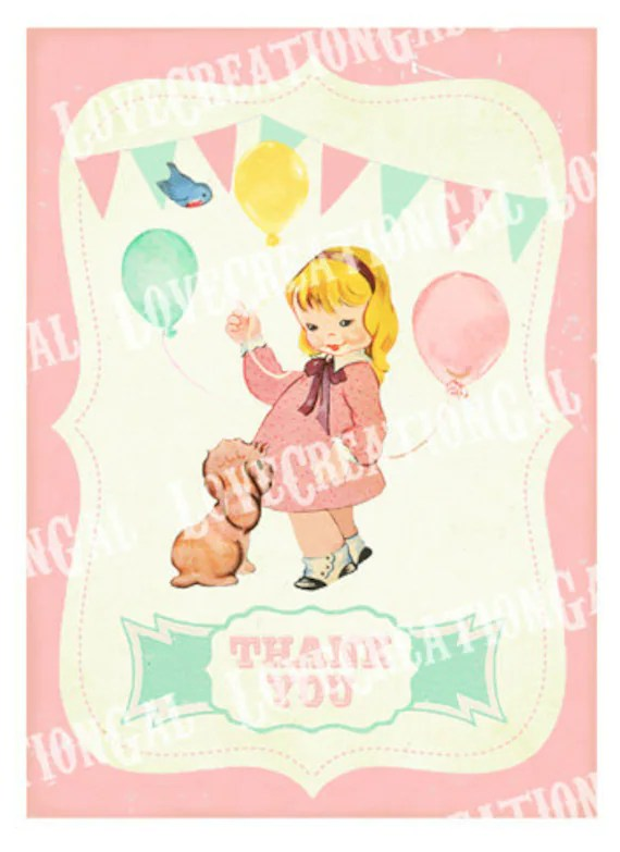 Vintage Girl And Puppy Birthday Thank You Notes Dog Girl