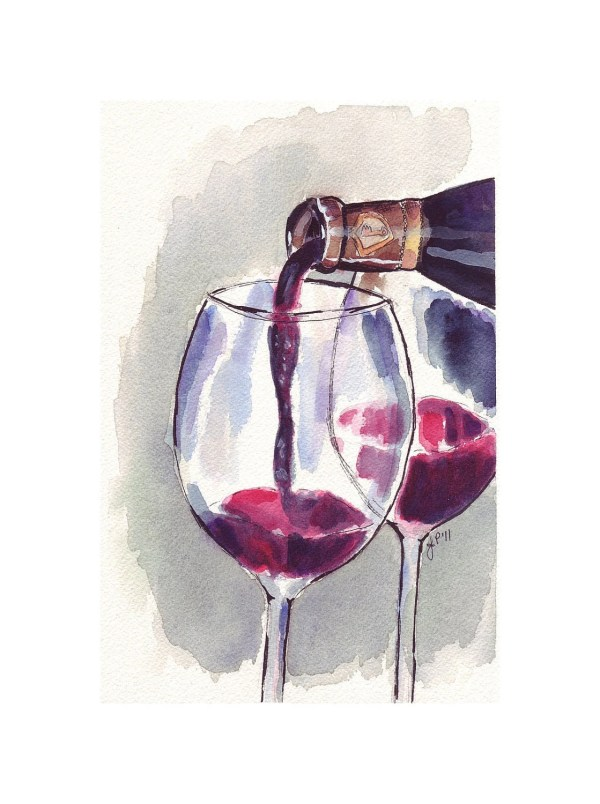 Red Wine Glass Pour Watercolor Art Print 5x7