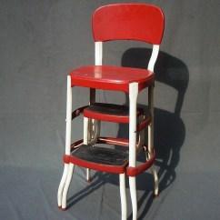 Vintage Kitchen Step Stool Chair Cabinet Sliding Shelves Cosco Metal /