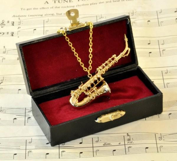 Alto Saxophone Necklace In Case