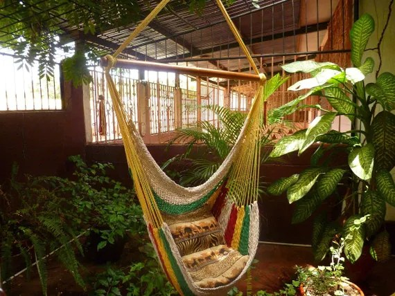 Multicolor Sitting Hammock, Hanging Chair Natural Cotton and Wood