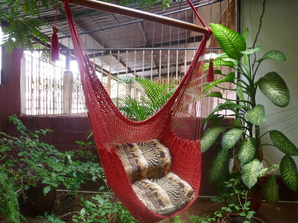 Red Sitting Hammock Hanging Chair Natural Cotton And Wood