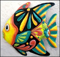 Tropical Fish Metal Wall Hanging Haitian Hand Painted Metal