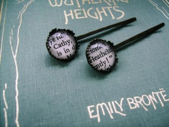 Wuthering Heights Bobby Hair Pins Vintage Steampunk Styled - HEATHCLIFF & CATHY - Ltd Ed - left Literary Book Gift