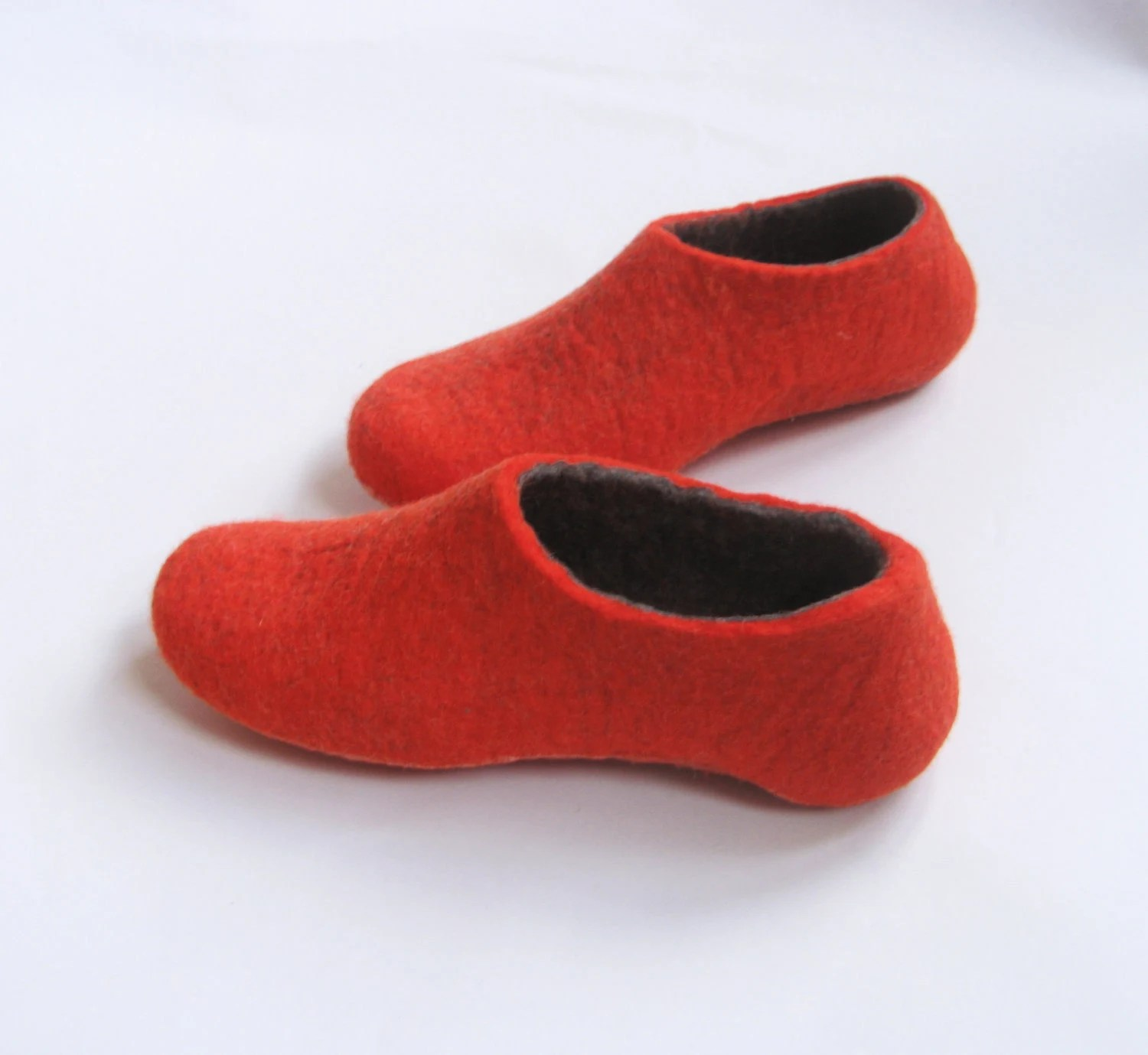 Felt slippers Red Gray Dark. In case of Cold Feet.  High Back. Custom made for Womens - WoolWalkerShop