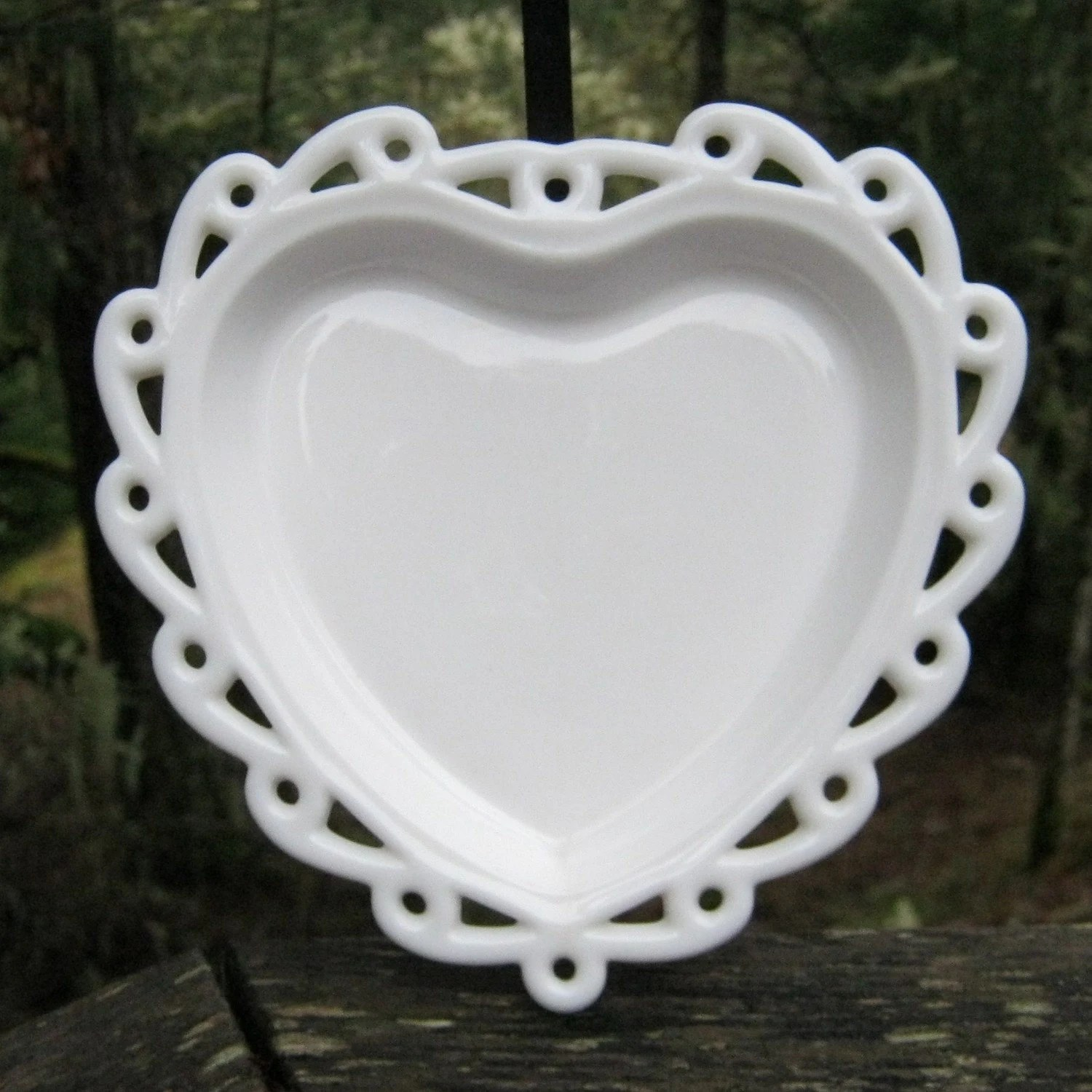SALE Milk Glass Heart Shaped Dish With Open Lace Edge