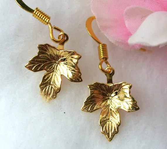 Gold Leaf Earrings Maple Leaves by CharmAccents on Etsy