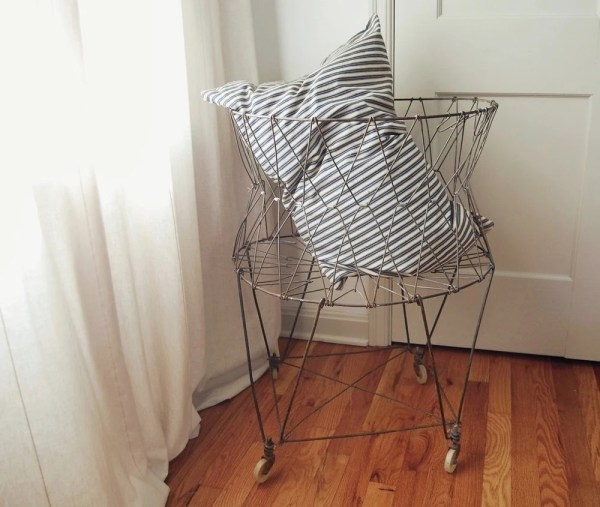 Vintage Wire Laundry Basket On Wheels