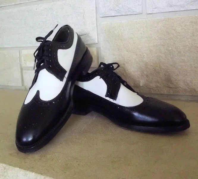 MENS Wingtips 9 Vintage Shoes Leather 50s 60s Two Tone Oxfords