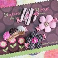 Felt flower hair clips cupcake hair clips set of 4 pink and
