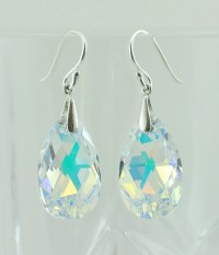 Aurora Borealis Swarovski Crystal Teardrop Earrings Crystal