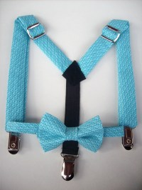 SALE bow tie and suspenders for toddler boy teal by golubchick