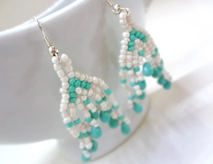 Cream and Turquoise Earrings - MegansBeadedDesigns