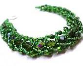 Dazzling Green Braclete - Beaded Flat Spiral - MegansBeadedDesigns
