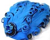 Dark Blue Feather Hair Clip - MegansBeadedDesigns