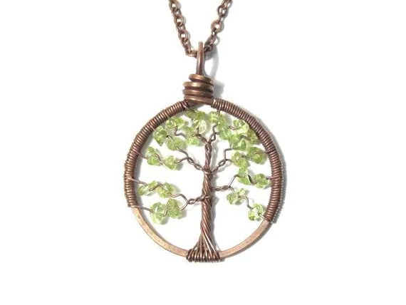 The Petite Tree of Life Antiqued Copper Necklace in Peridot. - sageANDindie