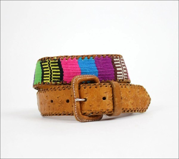 Woven Guatemalan Tooled Leather Colorful Folk Belt