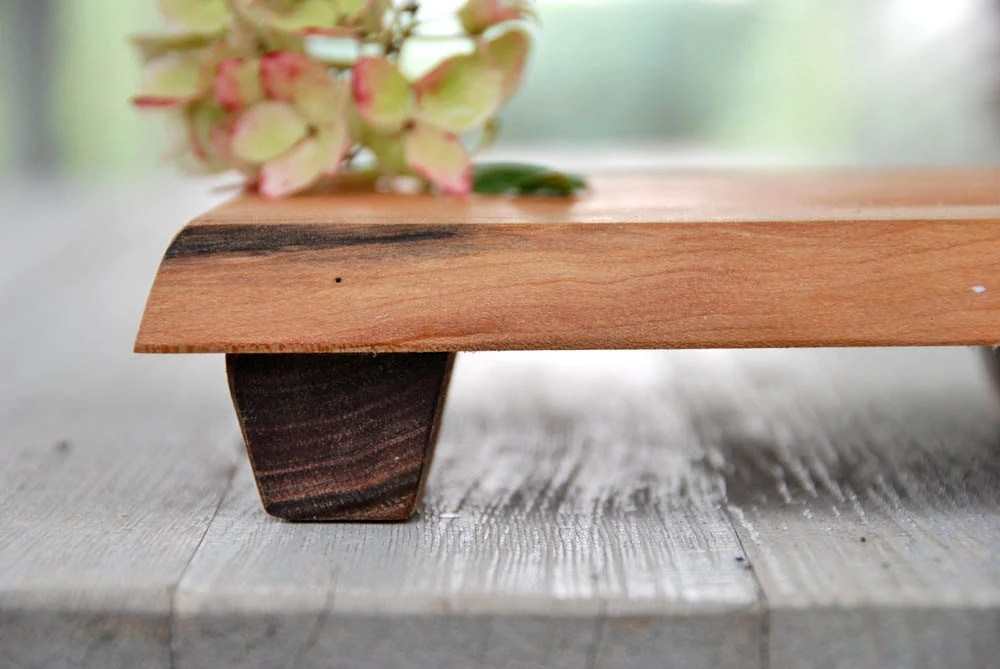Small Cherry Cutting Board Rustic Wood Serving Tray Footed Platter Gift for Organic Kitchens - grayworksdesign
