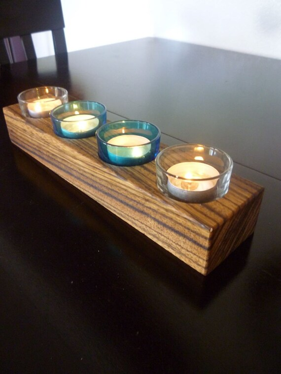 Zebra wood Votive candle holder