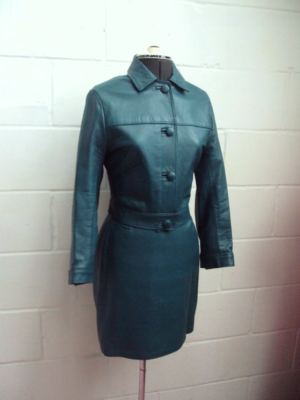 Teal Green 1960s Leather Mod Skirt Suit