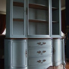 White Hutches For Kitchen Under Cabinet Lighting Lightly Distressed French Country Hutch In A Grey-blue
