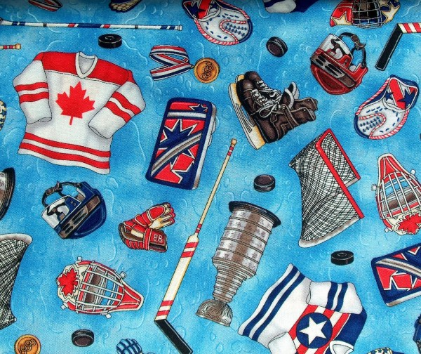 Reserved 2 Yards Of Cotton Fabric With Hockey Items