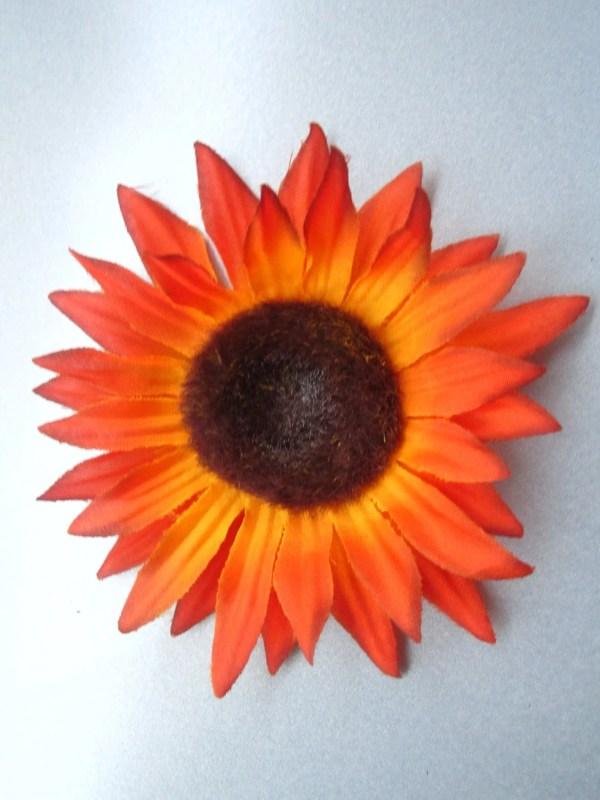 bright orange sunflower hair clip