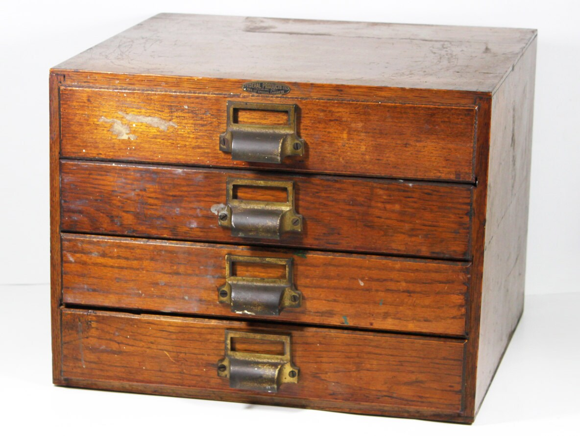 Vintage Wood Storage Cabinet with Four Drawers