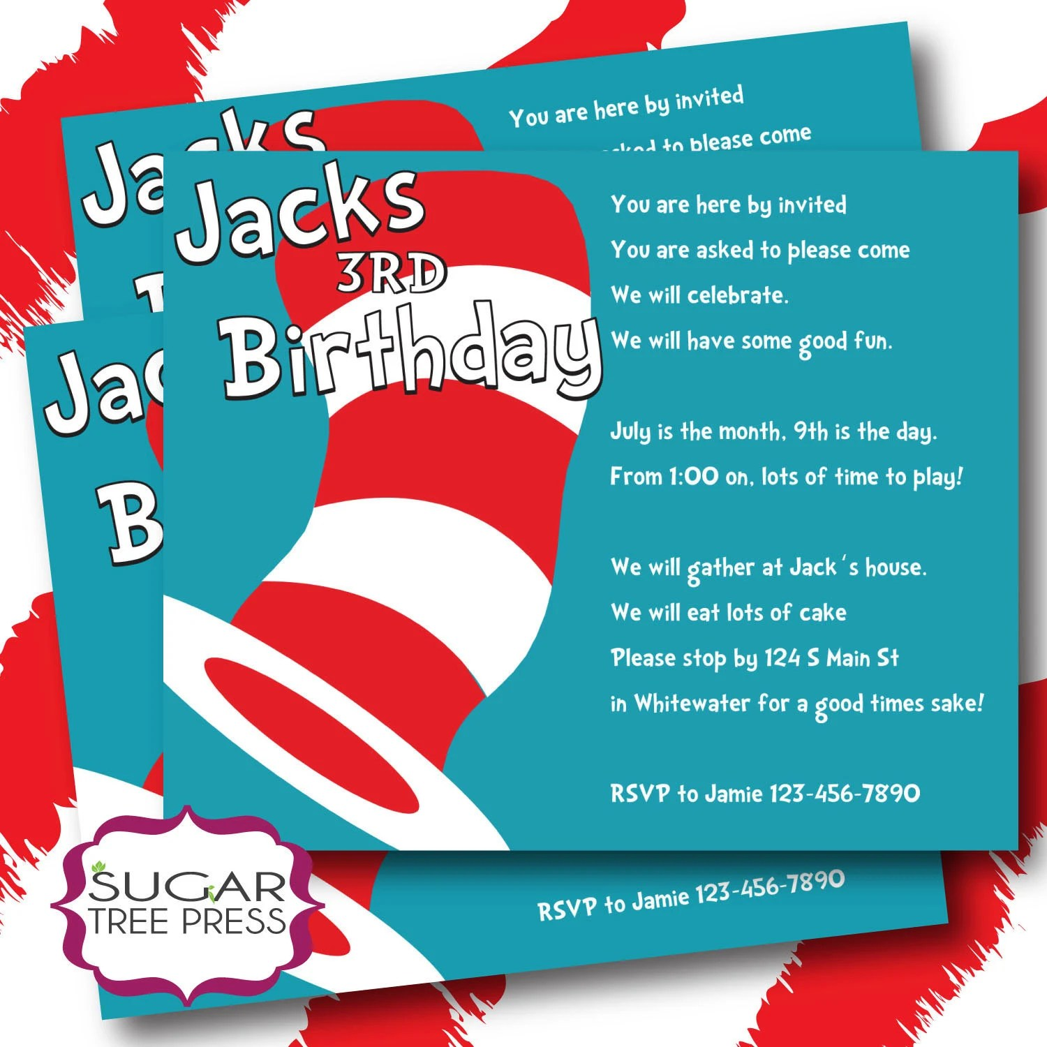 Printable Dr Seuss Cat In The Hat Inspired By Sugartreepress