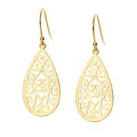 Gold Teardrop Earrings Hearts on Fire Gold Filigree