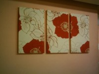Red Big Fabric Wall Art Red Cream Brown Funky Retro by ...
