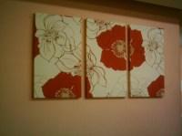 Red Big Fabric Wall Art Red Cream Brown Funky Retro Designer