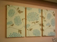 Large Fabric Wall Art Blue Duck egg Brown Triptych by ...