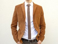 Knit Tie Skinny Necktie in Tobacco Tweed Brown Lambswool
