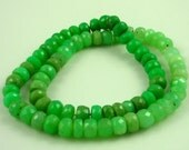 Large chrysoprase faceted rondelle beads 8mm set of 6