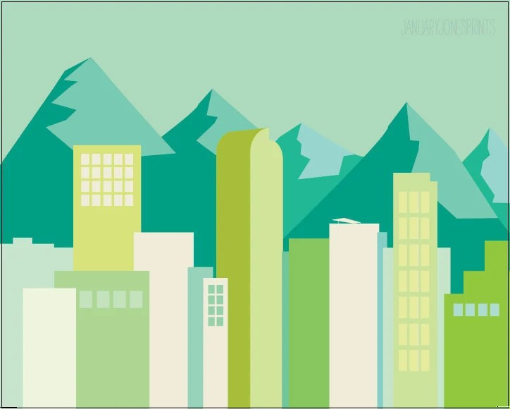 Denver Simple Skyline in blues and greens art print poster wall decor illustration