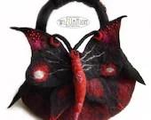 Hand felted butterfly handbag - bag handmade ready to ship felt bag - Wizuarion