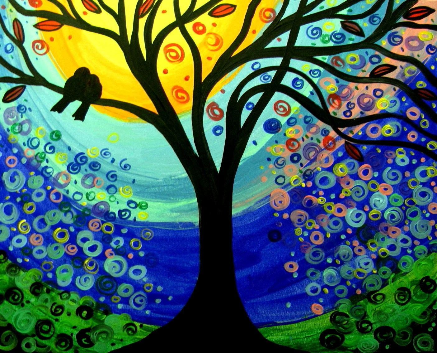 Original acrylic tree painting BIRDS 24x30 artist