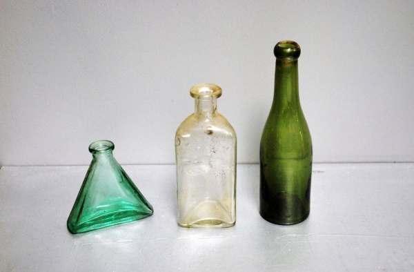 Antique Bottles Set Of 3 Colored Glass Bottle Lot