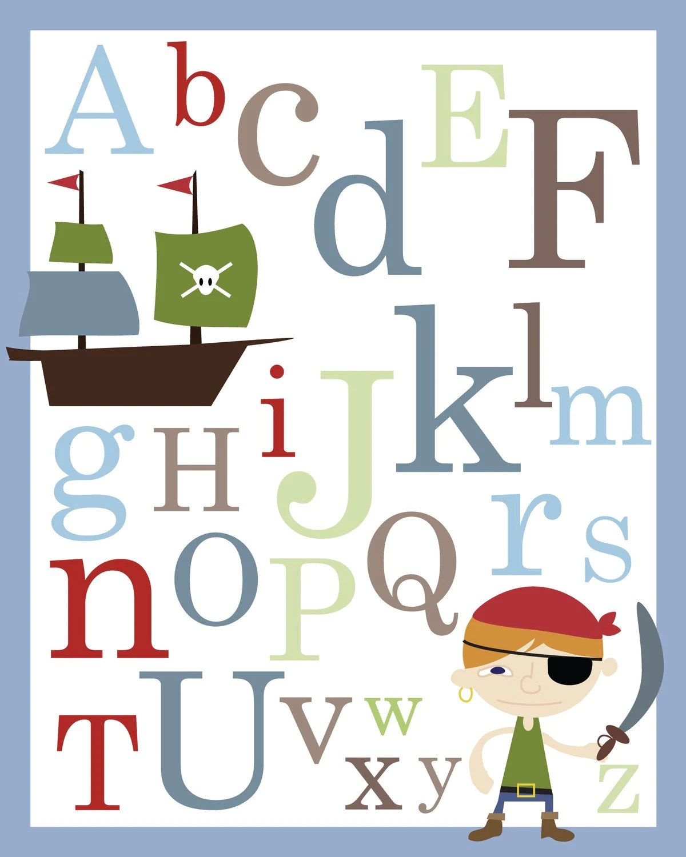 Pirate Abc Alphabet Poster Print 11 X 14 By Kidodesignstudio