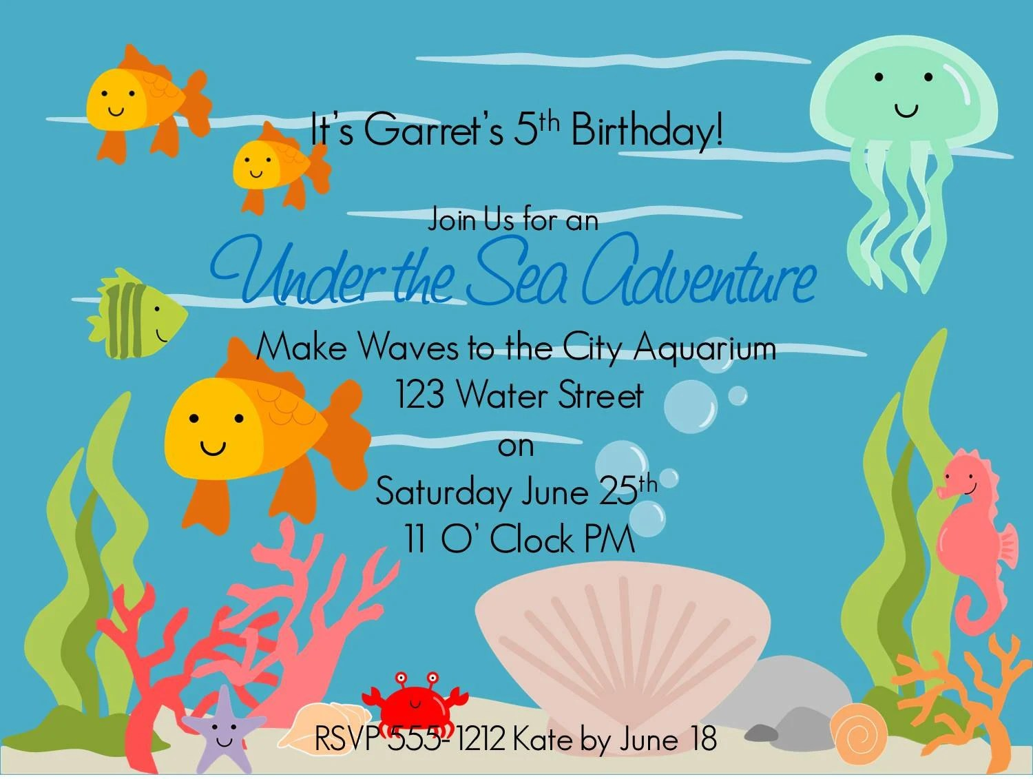 Under The Sea Printable Invitations W Matching Envelope