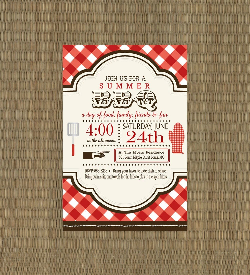 Printable Invitations Bbq