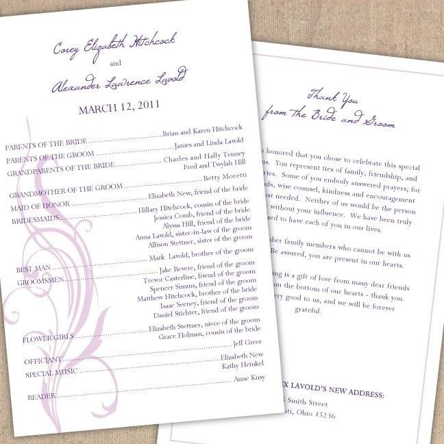 Modern Half Page Wedding Ceremony Program